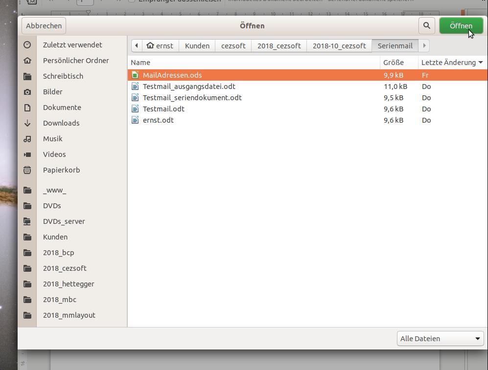 Datei aussuchen und öffnen