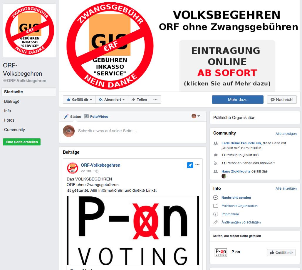 ORF.Volksbegehren auf Facebook